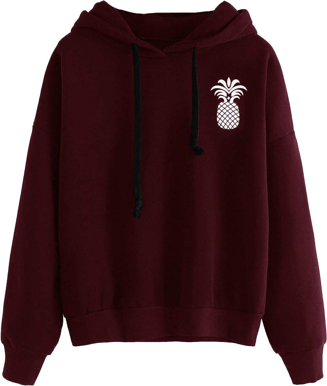 ROMWE Women's Cute Casual Plain Pineapple Print Drop Shoulder School Pullover Hooded Sweatshirt