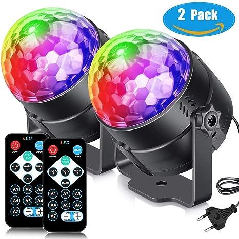 Lámpara de escena bola disco, kainuoa 7 colores iluminación de ...