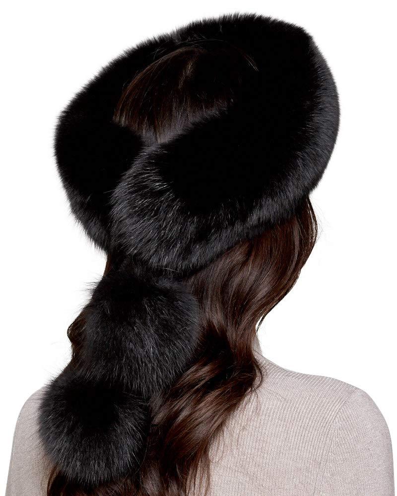 Black Fox Fur Headband with Pom Poms by frr (Image #2)