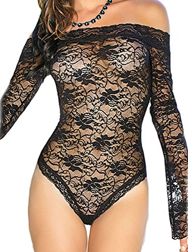 TomYork Sexy Sheer Off-shoulder Bell Sleeve One Piece Lingerie(Black,L) (Sexy Maid Lingere)