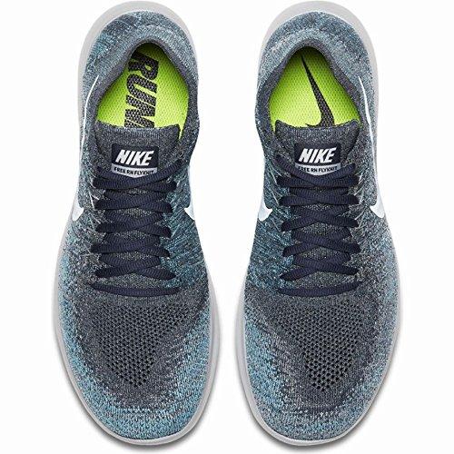 Nike Mens Free Rn Flyknit 2017 Scarpa Da Corsa Blu Volpe / Puro Platino-lupo Grigio-bianco