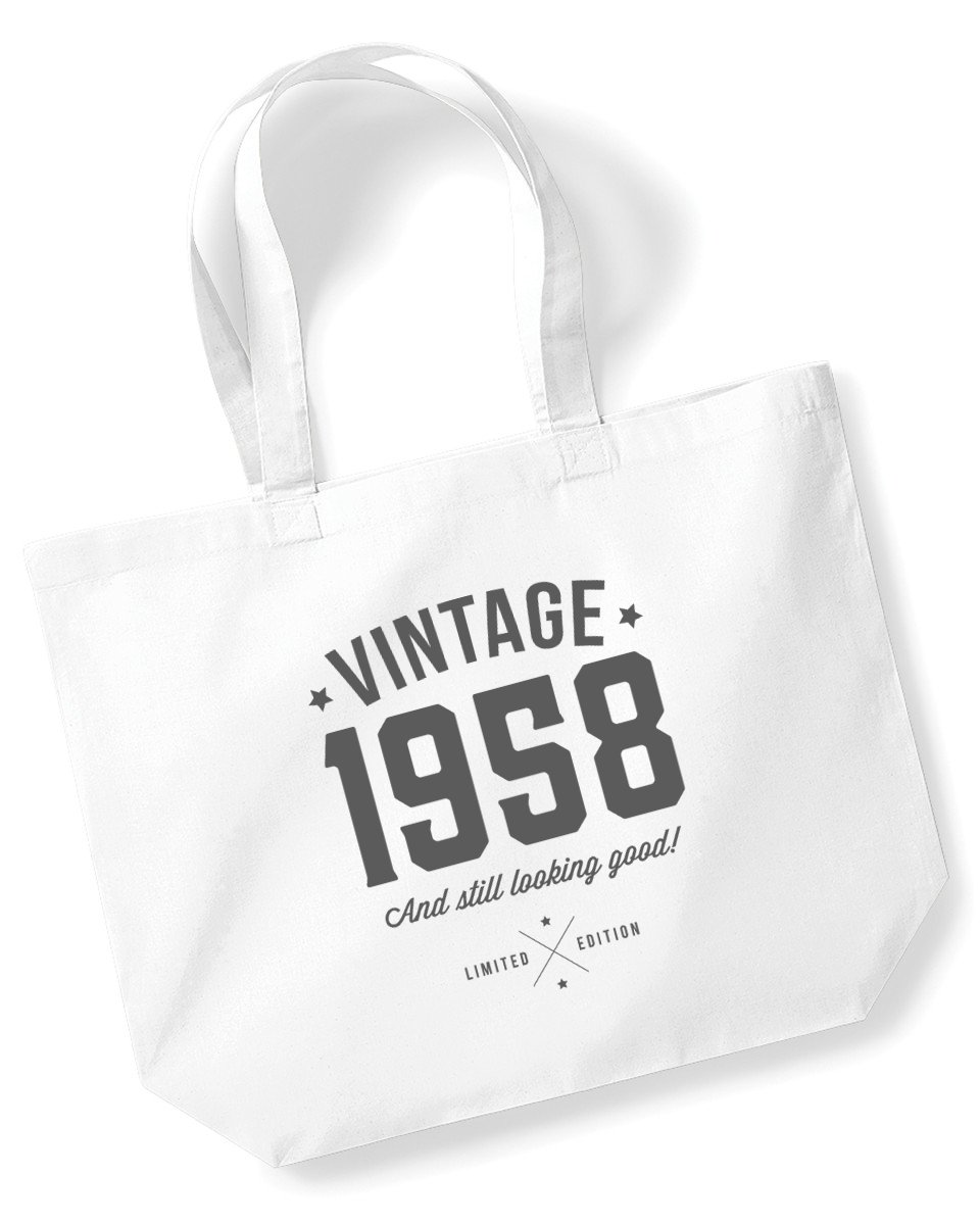 60th Birthday, 1958 Keepsake, Funny Gift, Gifts For Women, Novelty Gift, Ladies Gifts, Female Birthday Gift, Looking Good Gift, Ladies, Shopping Bag, Present, Tote Bag, Gift Idea (Black) Design Invent Print!