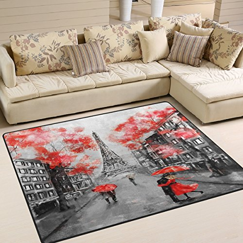 ALAZA France Paris Eiffel Tower Valentine's Day Area Rug Rugs for Living Room Bedroom 5'3 x 4'