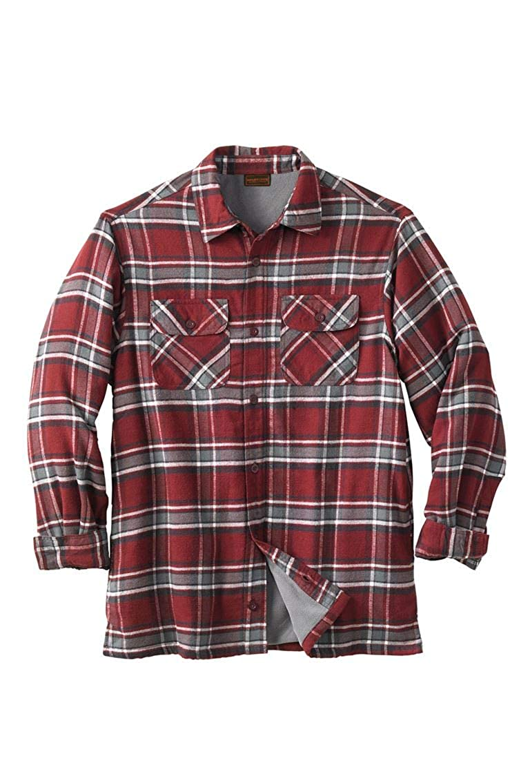 Boulder Creek Men's Big & Tall Fleece-Lined Flannel Shirt Jacket
