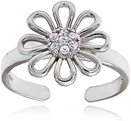 Hoops /& Loops Sterling Silver Channel Cubic Zirconia CZ Toe Ring