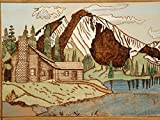 Rustic Log Cabin, Mountains, Pyrography, Landscape Wood Wall Art