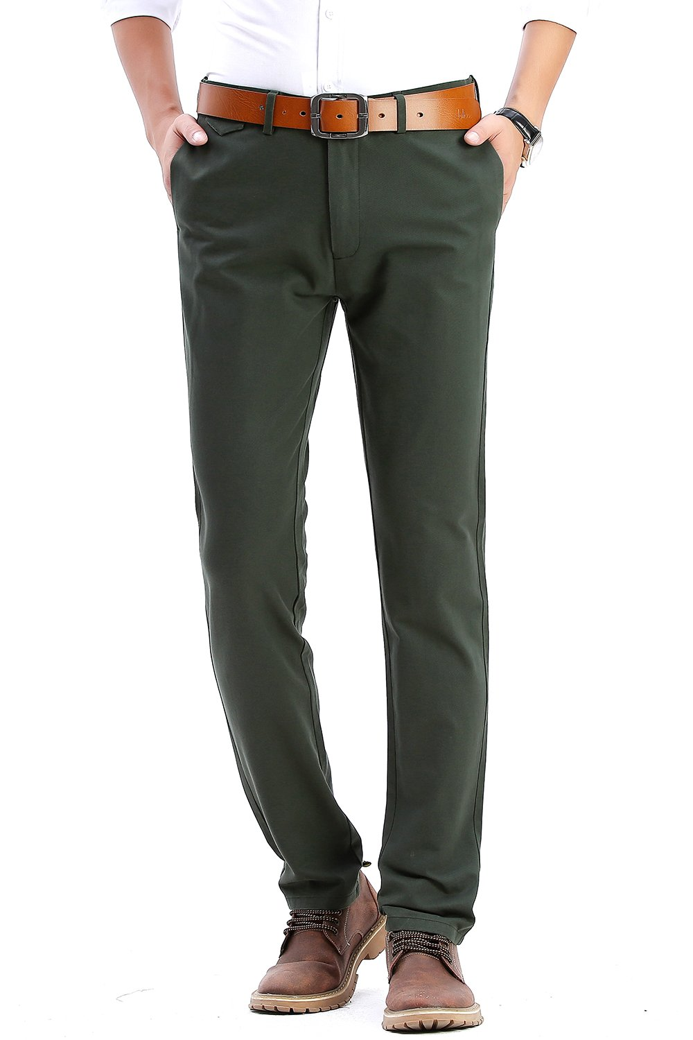 INFLATION Men's Stretchy Slim Fit Casual Pants,100% Cotton Flat Front Trousers Dress Pants for Men,Green Pants Size 36
