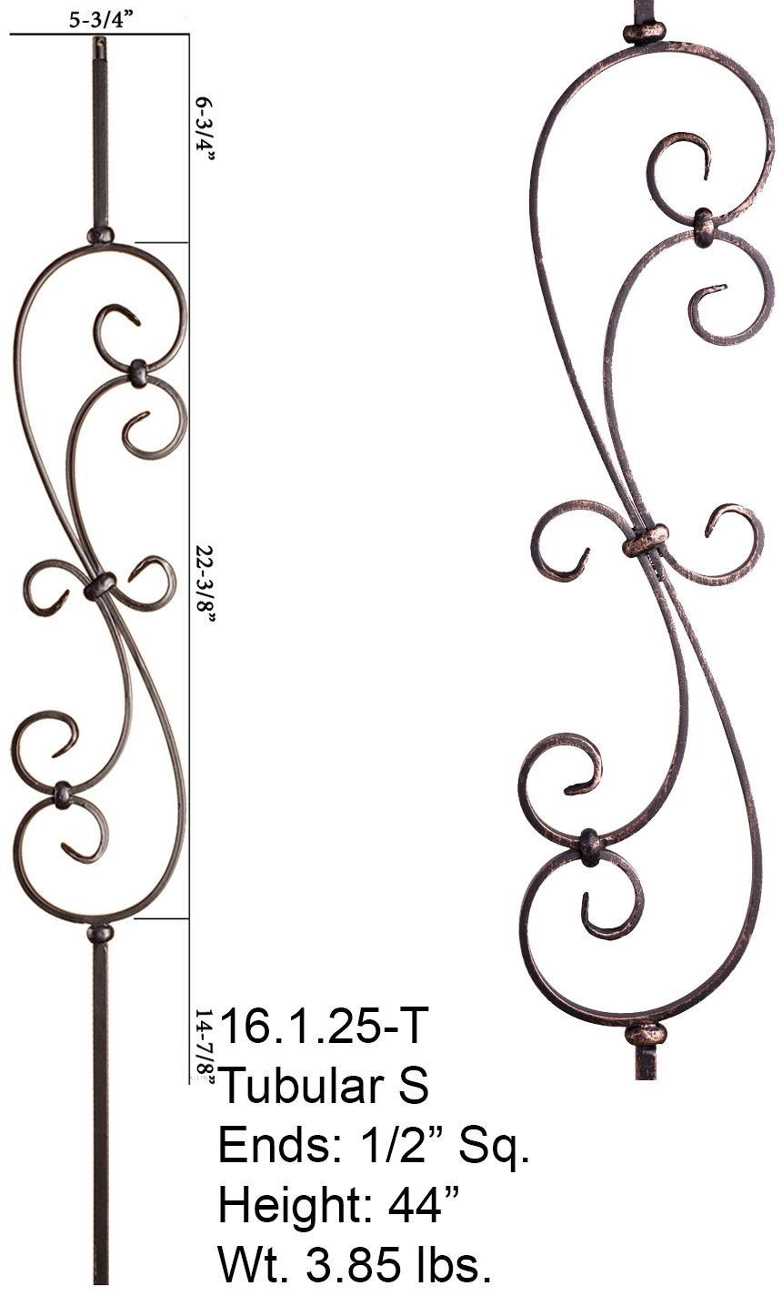 Oil Rubbed Bronze 16.1.25-T Hollow S-Scroll Iron Baluster for Staircase Remodel , Box of 5 by House of Forgings