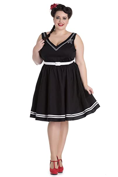 1950s Plus Size Dresses, Clothing and Costumes Hell Bunny Plus Size Pin-up Sailor Anchor & Rope V-Neck Ariel Black Flare Dress $55.95 AT vintagedancer.com