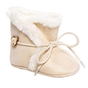 Amazon.com : Aivtalk Baby Girl Cute Bear Fur Moccasins Toddler Soft Sole Prewalker Winter Warm Walking Snow Shoes with Bow Size 12 Khaki : Baby