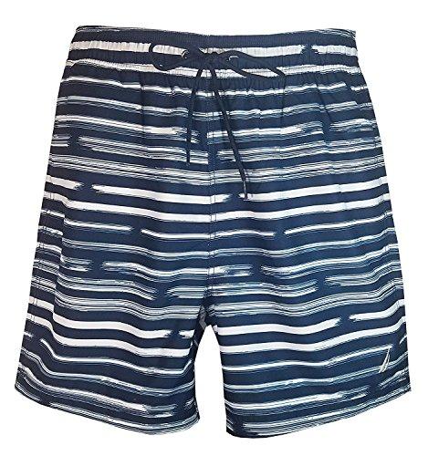 Nautica Print Trunk - Nautica Men's Quick Dry Swim Trunk Assorted Prints (True Blue Stripes, XX-Large)