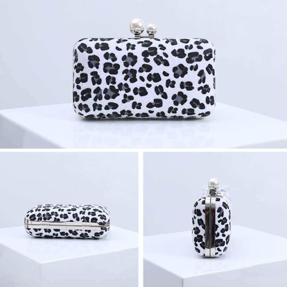 Elegant Women Leopard Clutch Bag Fashion Classic Wedding Cocktail Party Evening Chain Strap Mini Handbag