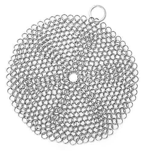 """LauKingdom 7""""x7"""" Cast Iron Cleaner, Stainless Steel Cast Iron Cleaner 316L Chainmail Scrubber for Cast Iron Pan, Ultra-hygienic Anti-rust Cast Iron Scraper with Corner Ring, Round"""