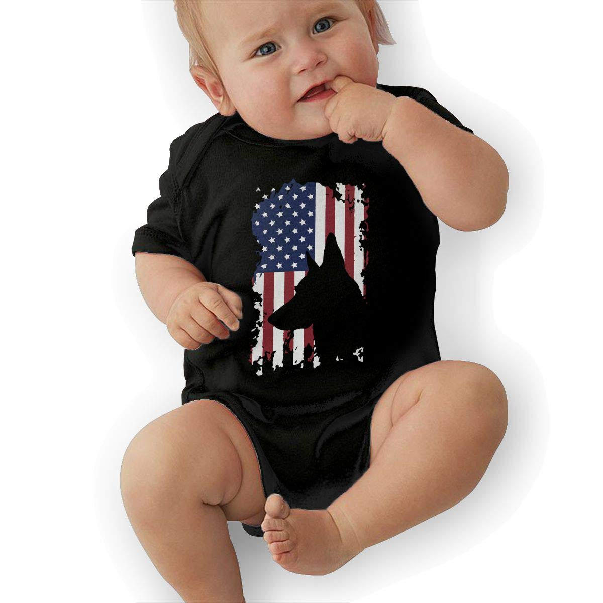 Mri-le2 Newborn Kids Short Sleeve Bodysuits German Shepherd American Flag Baby Clothes