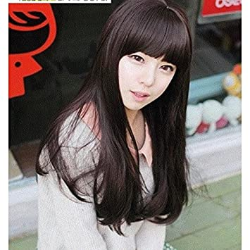 Amazon South Korean Women Girls Female Long Straight Hair Wig
