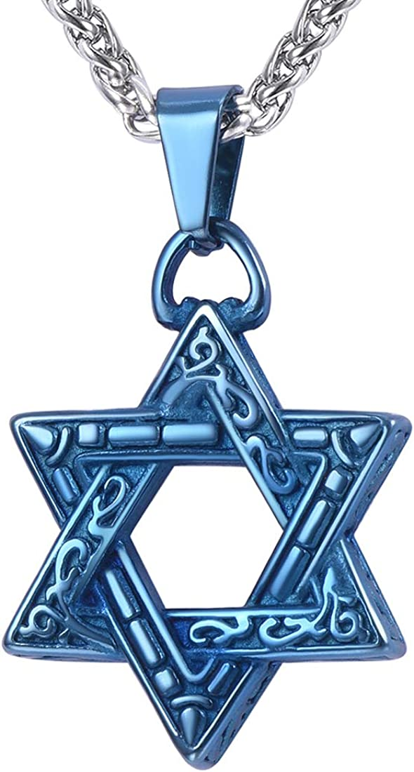 Star of David Necklace with Free Chain Men Women Stainless Steel /18K Gold Plated Jewish Amulet Jewelry Israel Necklace,Heart/Vintage/Ruby/Cross Style,Offer Custom Engrave