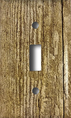 (Barn Wood Design Single Toggle Light Switch Wall Plate)