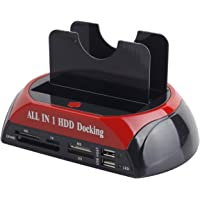 "SAISAN Dual 2.5""/3.5"" IDE SATA All In 1 HDD Docking Station Multi-Function Dock with One Touch Button Backup and High Speed Hard Disk Cloning ( Can be used offline )"