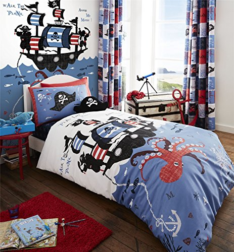 PIRATES OCTOPUS SHIP BLUE WHITE COTTON BLEND USA TWIN (COMFORTER COVER 135 X 200 - UK SINGLE) (FITTED SHEET - 90 X 190CM + 25 - UK SINGLE) 3 PIECE BEDDING SET