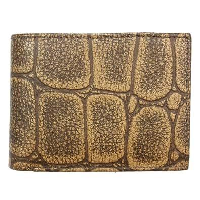 BRAND Fashion Men's Leather Wallet Bi-fold in Tan Crocodile Pattern Design