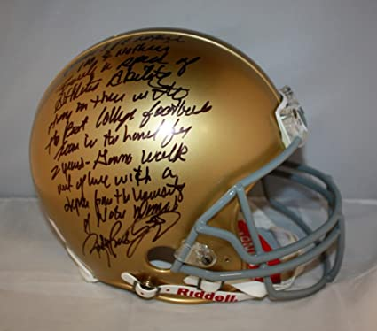 JSA W *Blue Rudy Ruettiger Signed Notre Dame Riddell Mini Helmet W// Never Quit