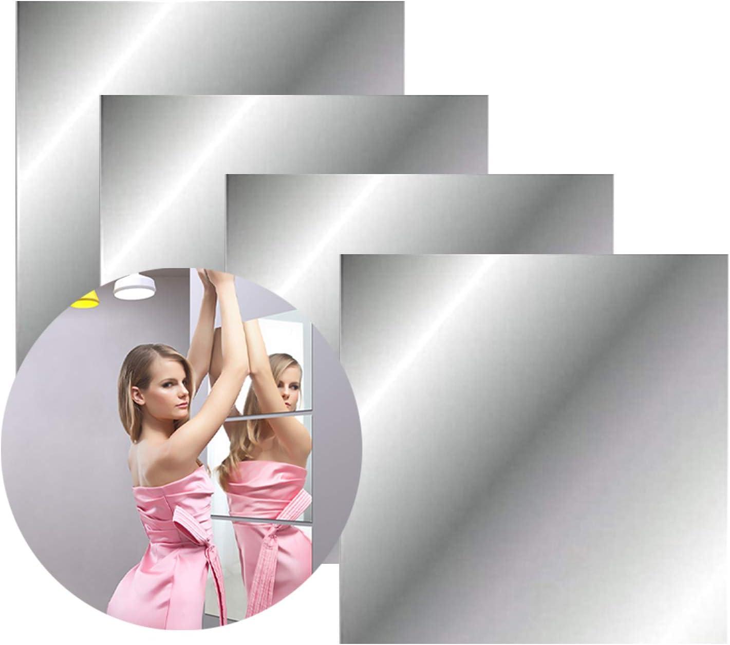 azulejos de espejo no de cristal para decoraci/ón de pared de bricolaje en el hogar dormitorio pegatinas autoadhesivas para espejo de espejo 4 pegatinas de pared de espejo de acr/ílico 30 x 30 cm