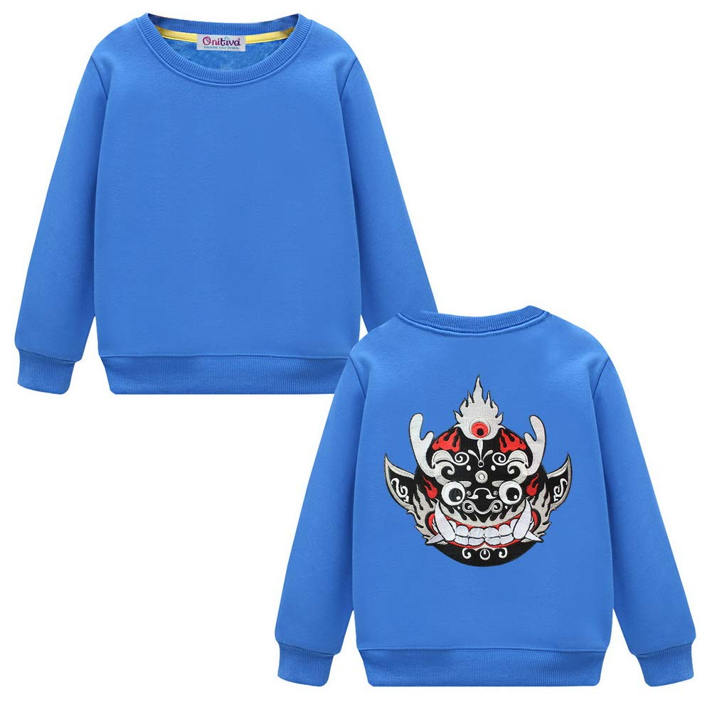 Black Temptation Embroidered Pullover Sweatshirt for Boys Girls Stylish Flame Mask