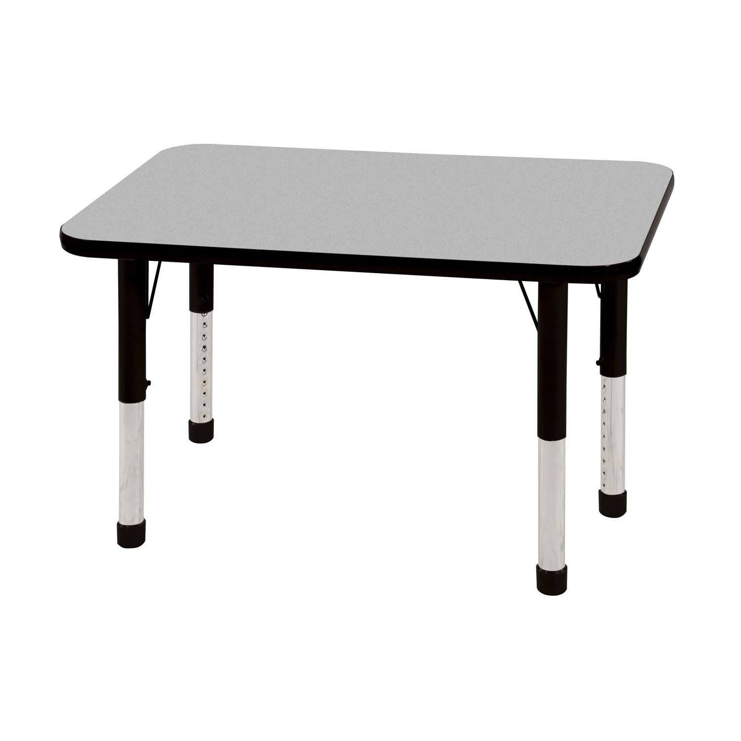 ECR4Kids T-Mold 24'' x 36'' Rectangular Activity School Table, Chunky Legs, Adjustable Height 15-24 inch (Grey/Black)