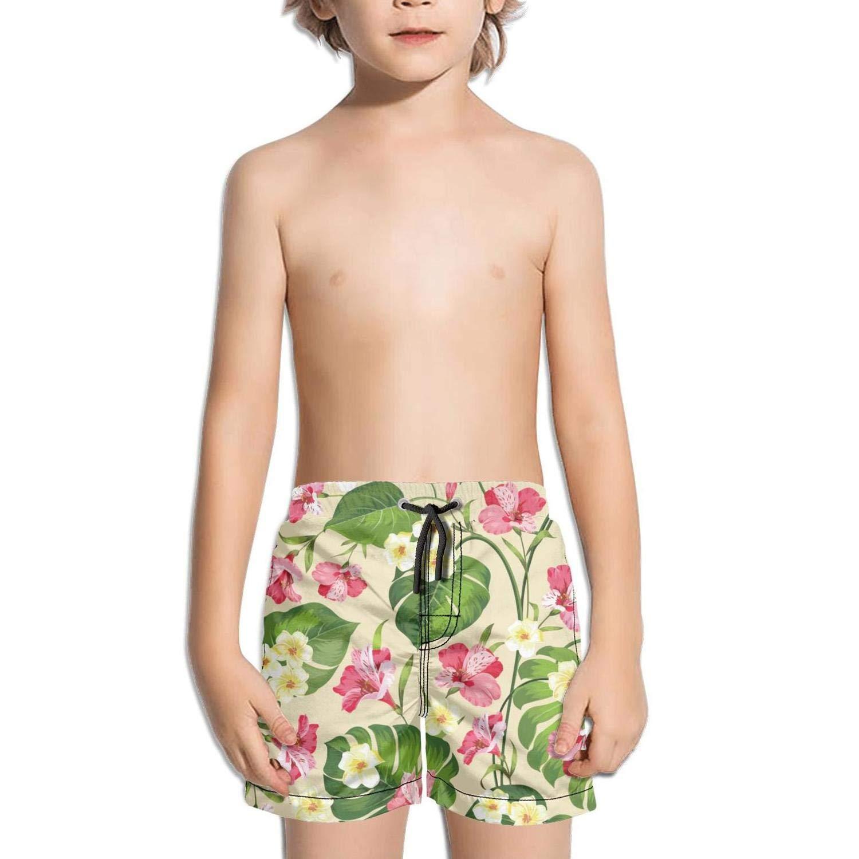 Ouxioaz Boys Swim Trunk Tropical red Fresh Hibiscus Flowers Beach Board Shorts