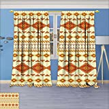 Room Darkening/Thermal Insulated Grommet Window Curtains Native Aztec with Colors Mexican Indigenous Culture Print Yellow Orange Set of Two Panels 84W x 108L inch