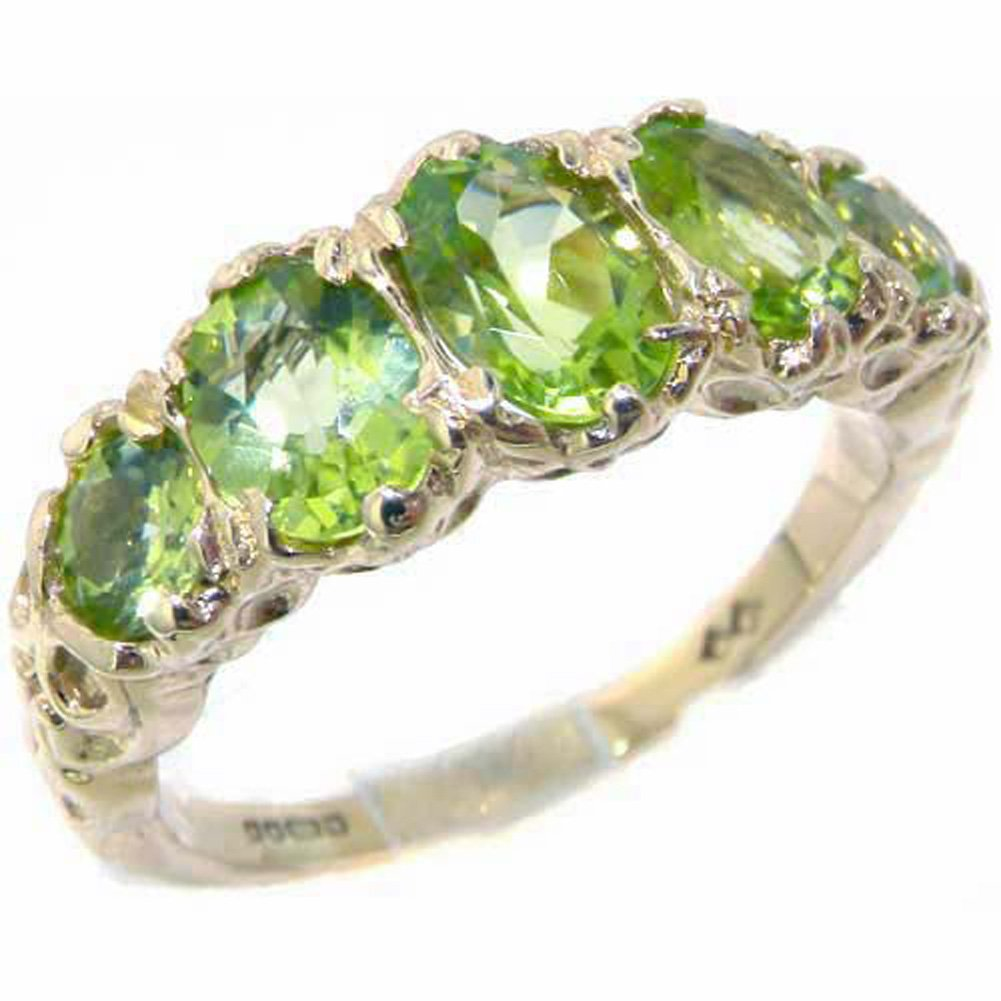 925 Sterling Silver Natural Peridot Womens Band Ring - Sizes 4 to 12 Available