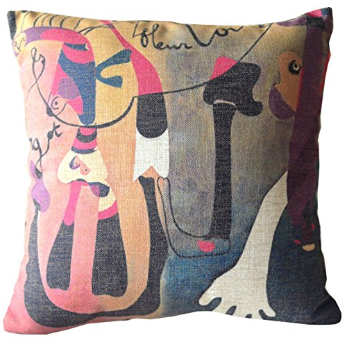 Modern Style Joan Miró Abstract Gorgeous Colourful Painting Sofa Simple Home Decor Design Throw Pillow Case Decor Cushion Covers Square 18*18 Inch Beige Cotton Blend Linen