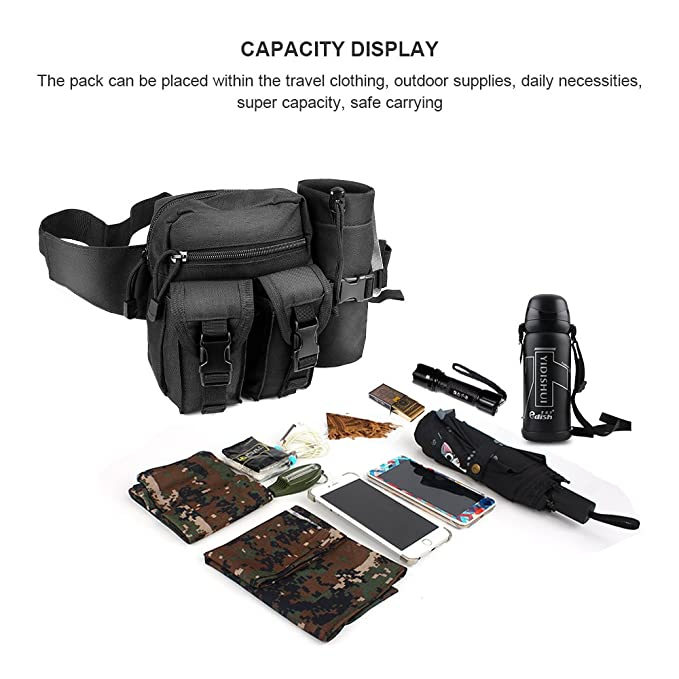 ELEPOWSTAR Bolsa de plátano militar táctico Bolsa bandolera multifunción maletín multiusos para senderismo deporte y viajes negros: Amazon.es: Deportes y ...