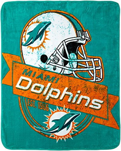 Officially Licensed NFL Miami Dolphins Grand Stand Plush Raschel Throw Blanket, 50' x 60'