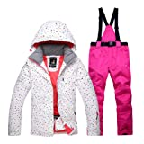 Oshide Ski Jacket Pants Set Waterproof Warm Women