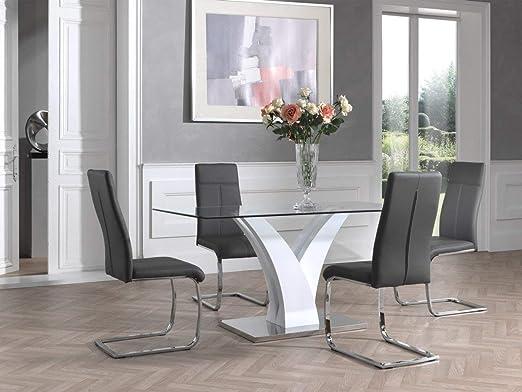 Mesa de Comedor de Cristal y Blanco Lacado diseño Kassandra ...