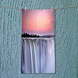SOCOMIMI Quick Dry Towel Decor Collection Grand Majestic Waterfalls View at Sunset in Africa Wild Mist Exotic Lightweight, High Absorbency