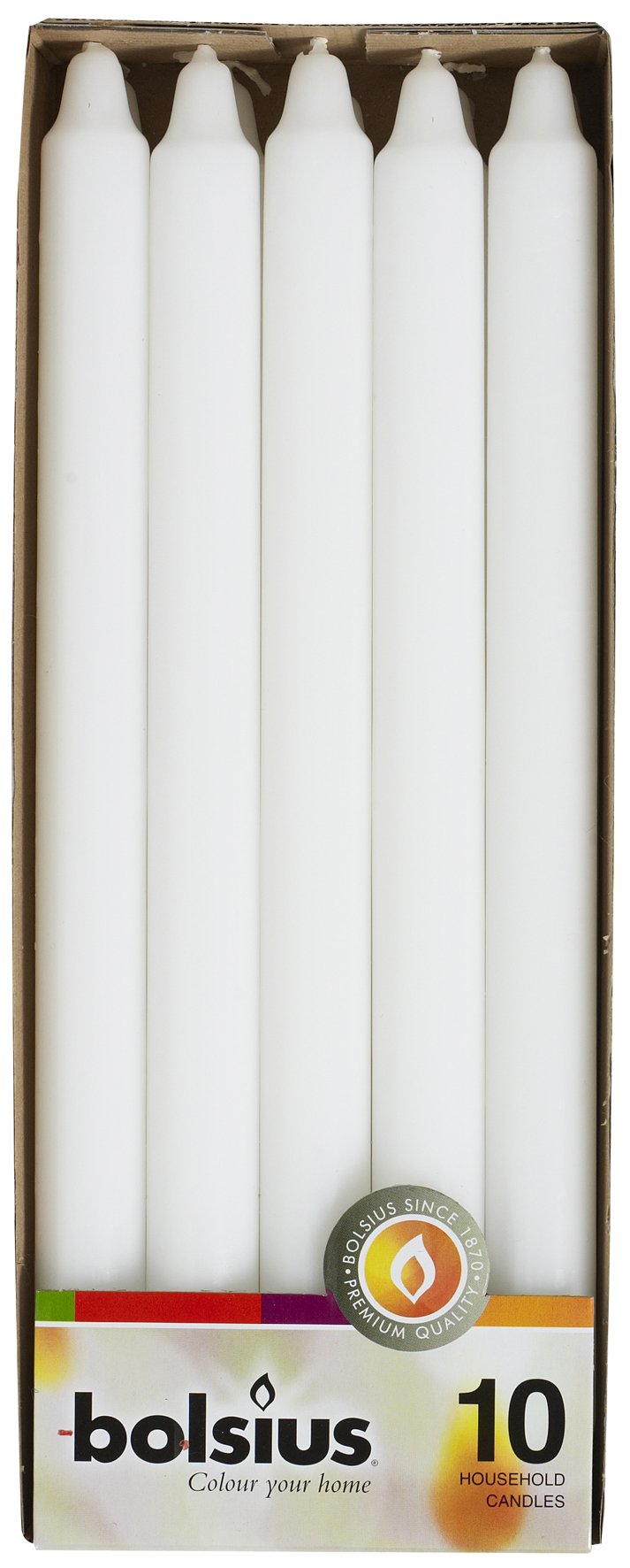 Bolsius Set 10-12 inch Household Taper White Candles by Bolsius