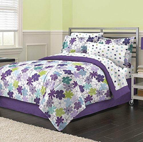 8 Piece Purple Girls Flower Print Comforter Queen Set