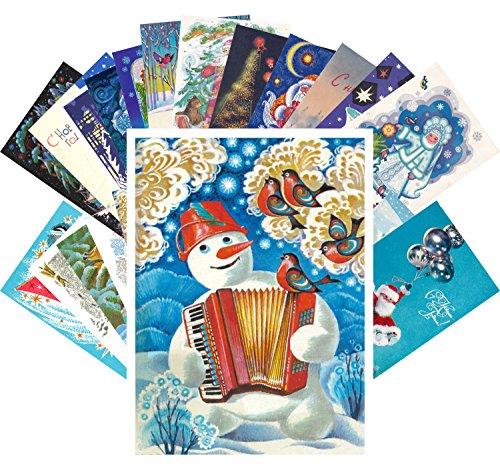 Vintage Christmas Greeting Cards 24pcs Russian USSR New Year Greetings с новым годом REPRINT Postcard Set