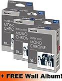 Pellicola monocromatica per Fujifilm Instax, confezione tripla (30 foto), con album da parete incluso