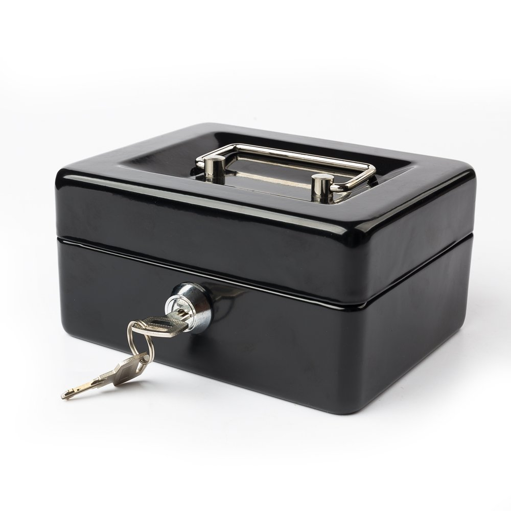 Locking Cash Box with Money Tray?Portable Metal Money Box with Double Layer & 2 Keys for Security?Lock Box?5.91''x 4.72''x 3.15''?Black ?-