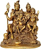 Astadhatu Made Shiv Parvati, Ganesh and Kartikeya Idol/Shri Shiv Parivar Brass Idol/Shri Mahadev, Bholenath Brass Sculpture with Family/Shiv Family Brass Statue - The Himalayan Collections (5 cm)