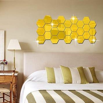 Hexágono estéreo espejo pegatinas de pared restaurante escalera pasillo personalidad decorativa pegatinas hexagonales marco pegatinas de pared acrílico {1pcs}, 80 * 70 * 40mm_ oro: Amazon.es: Bricolaje y herramientas