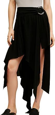 La Mujer Alta Baja Drapeado Falda Irregular con Swing: Amazon.es ...