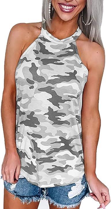 Kunfang Camuflaje Mujeres Camisa Camuflaje Sin Mangas Casual Verano Tops para Mujer Camiseta Suelta Ropa Mujer: Amazon.es: Ropa y accesorios