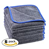 auto detail microfiber towel - AULLY PARK 600gsm Ultra Thick Plush Microfiber Car Cleaning Towels Buffing Cloths Super Absorbent Drying Auto Datailing Towel Dark Gray (16 in. x 16 in., Pack of 6)