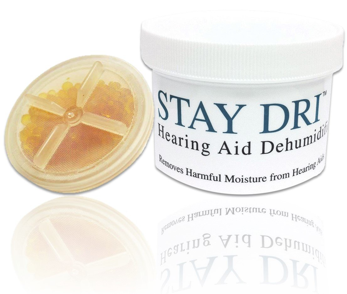 STAY DRI Hearing Aid Dehumidifier - Includes FREE Liberty Keychain Hearing Aid Battery Holder