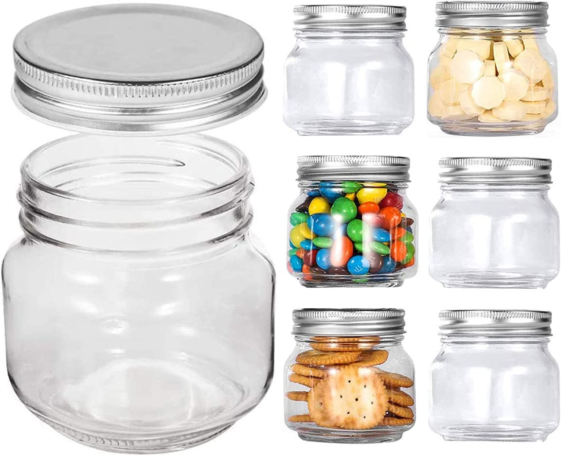 Mason Jars Regular Mouth - Clear Glass 8 oz Jars with Silver Metal Lids for Sealing, Food Storage, Overnight Oats, Jelly, Dry Food, Jam,DIY Magnetic Spice Jars, 6 Pack