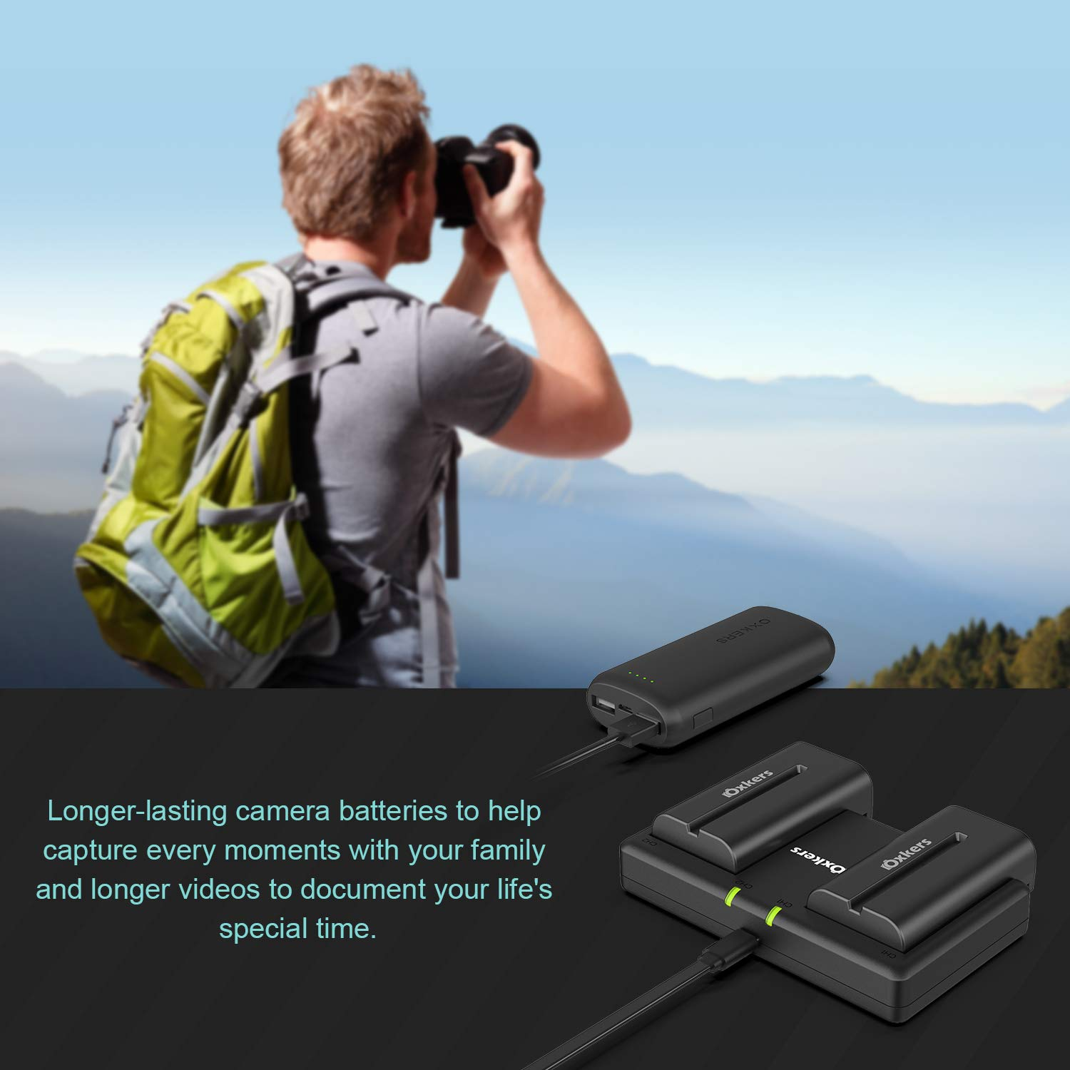NP-F550 Battery Charger, OXKERS Battery Charger Set Camera Battery Charger for Sony NP F970, F330, F750, F770, F960, F530, F570 and More
